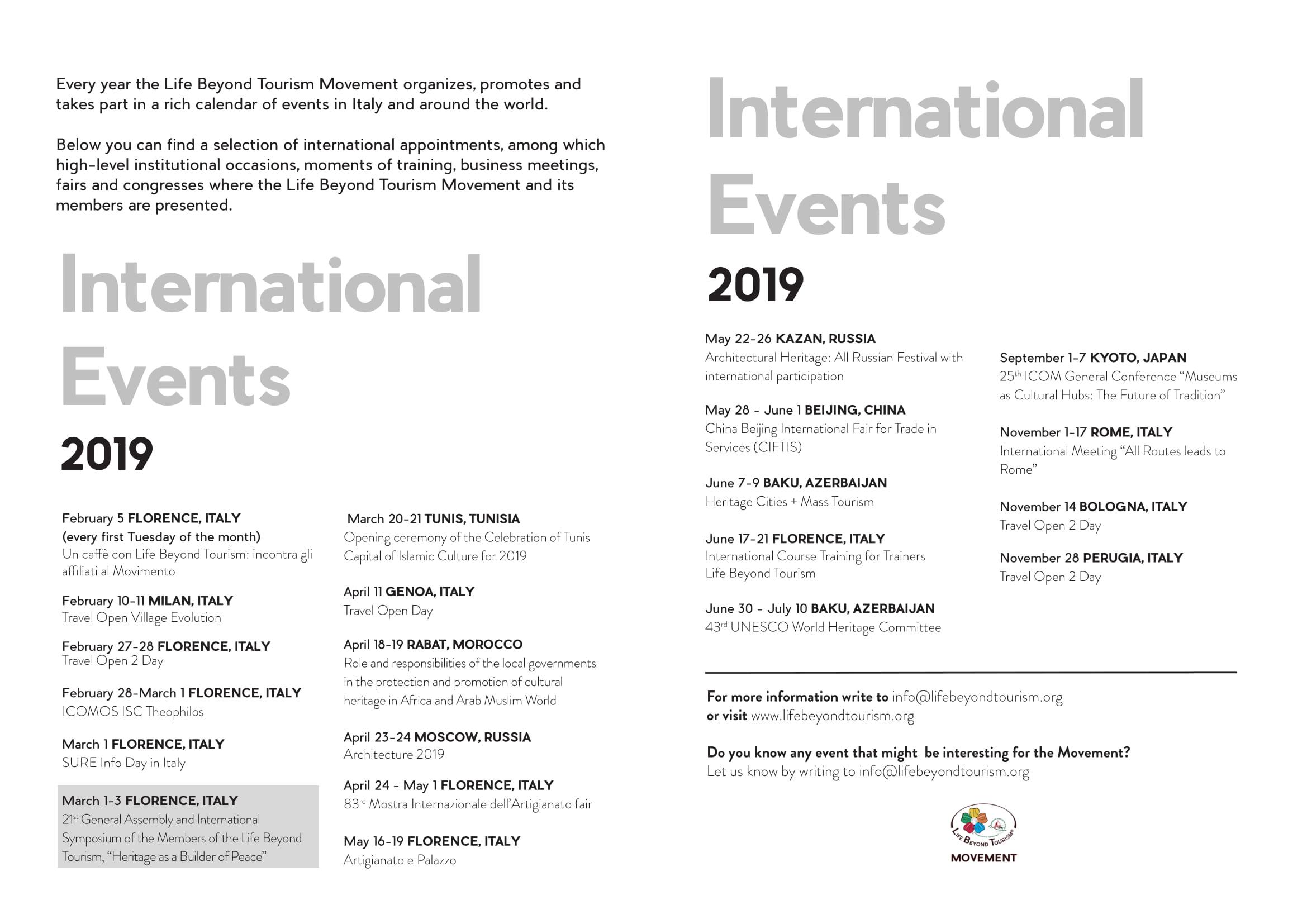 Calendario 2o19.Event Calendar Life Beyond Tourism